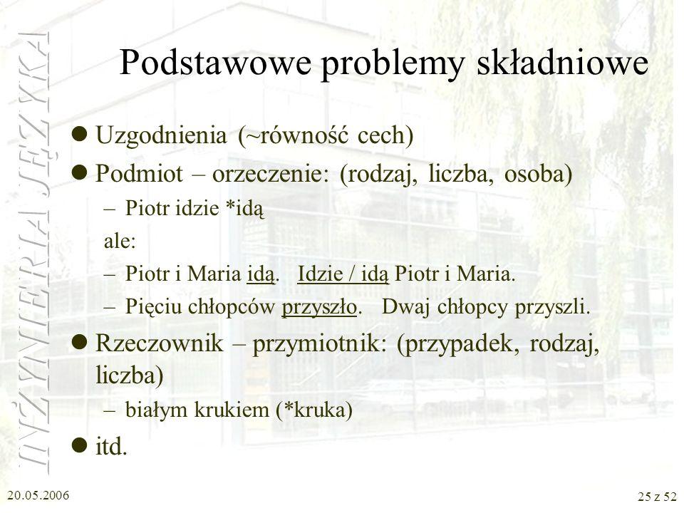 20.05.2006 25 z 52 Podstawowe problemy składniowe Uzgodnienia (~równość cech) Podmiot – orzeczenie: (rodzaj, liczba, osoba) –Piotr idzie *idą ale: –Pi