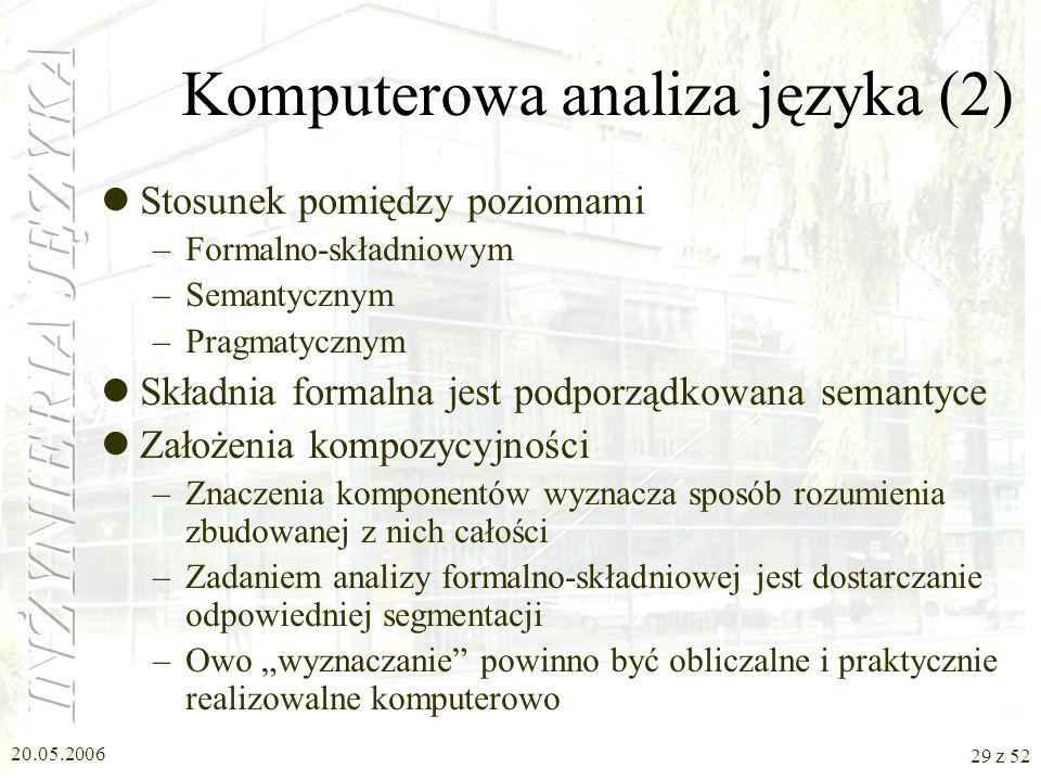 20.05.2006 29 z 52 Komputerowa analiza języka (2) Stosunek pomiędzy poziomami –Formalno-składniowym –Semantycznym –Pragmatycznym Składnia formalna jes