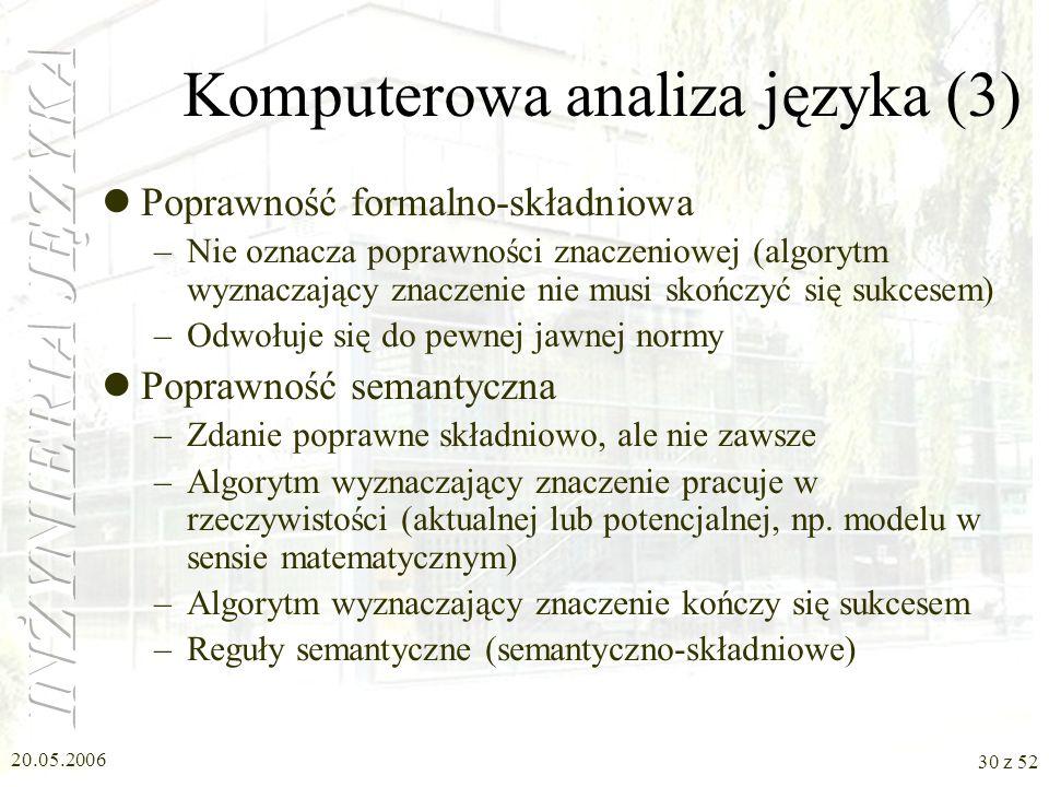 20.05.2006 30 z 52 Komputerowa analiza języka (3) Poprawność formalno-składniowa –Nie oznacza poprawności znaczeniowej (algorytm wyznaczający znaczeni