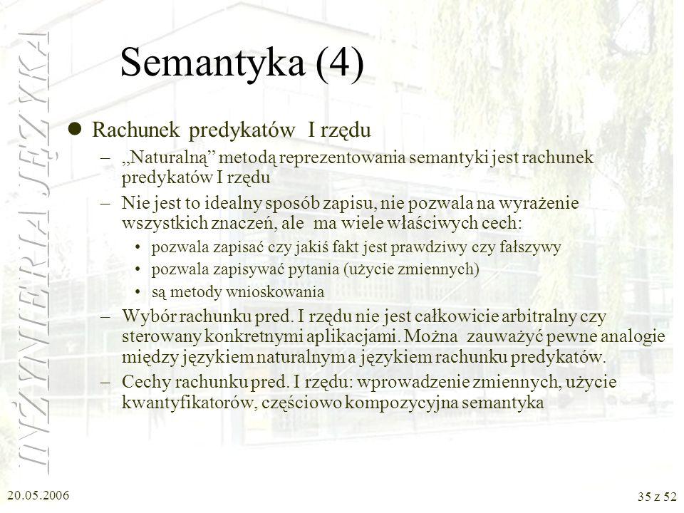20.05.2006 35 z 52 Semantyka (4) Rachunek predykatów I rzędu –Naturalną metodą reprezentowania semantyki jest rachunek predykatów I rzędu –Nie jest to