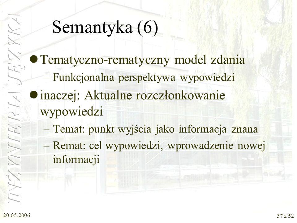 20.05.2006 37 z 52 Semantyka (6) Tematyczno-rematyczny model zdania –Funkcjonalna perspektywa wypowiedzi inaczej: Aktualne rozczłonkowanie wypowiedzi