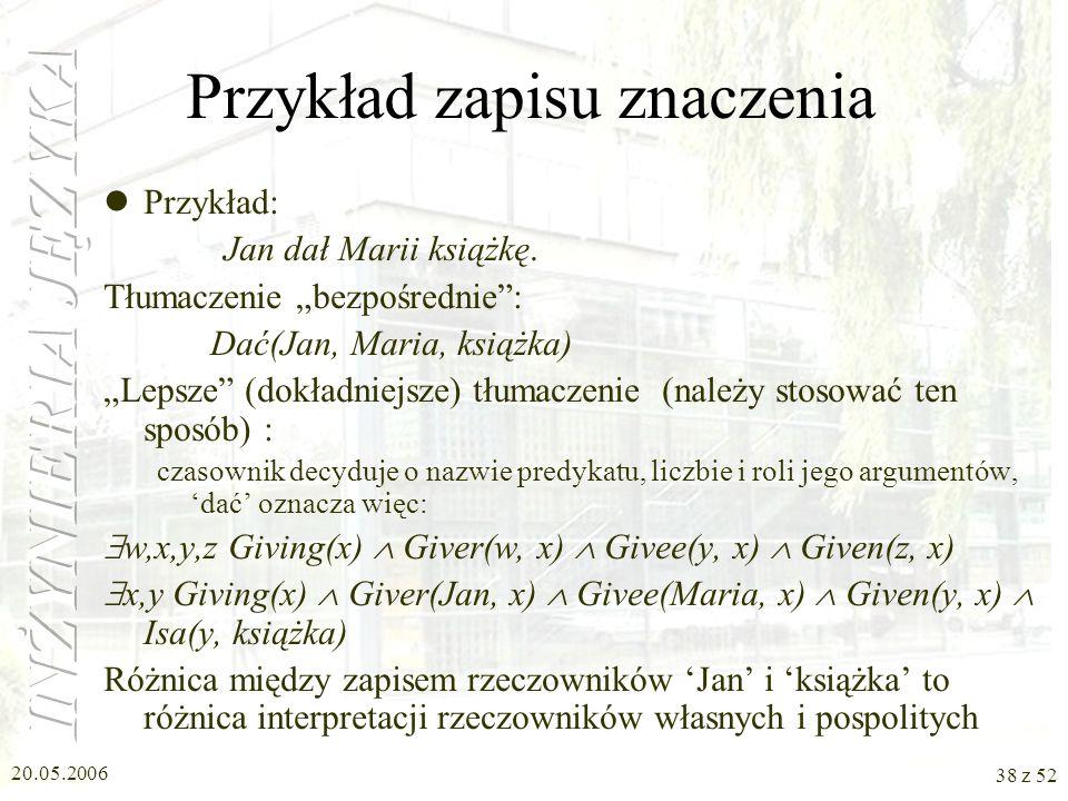 20.05.2006 38 z 52 Przykład zapisu znaczenia Przykład: Jan dał Marii książkę. Tłumaczenie bezpośrednie: Dać(Jan, Maria, książka) Lepsze (dokładniejsze