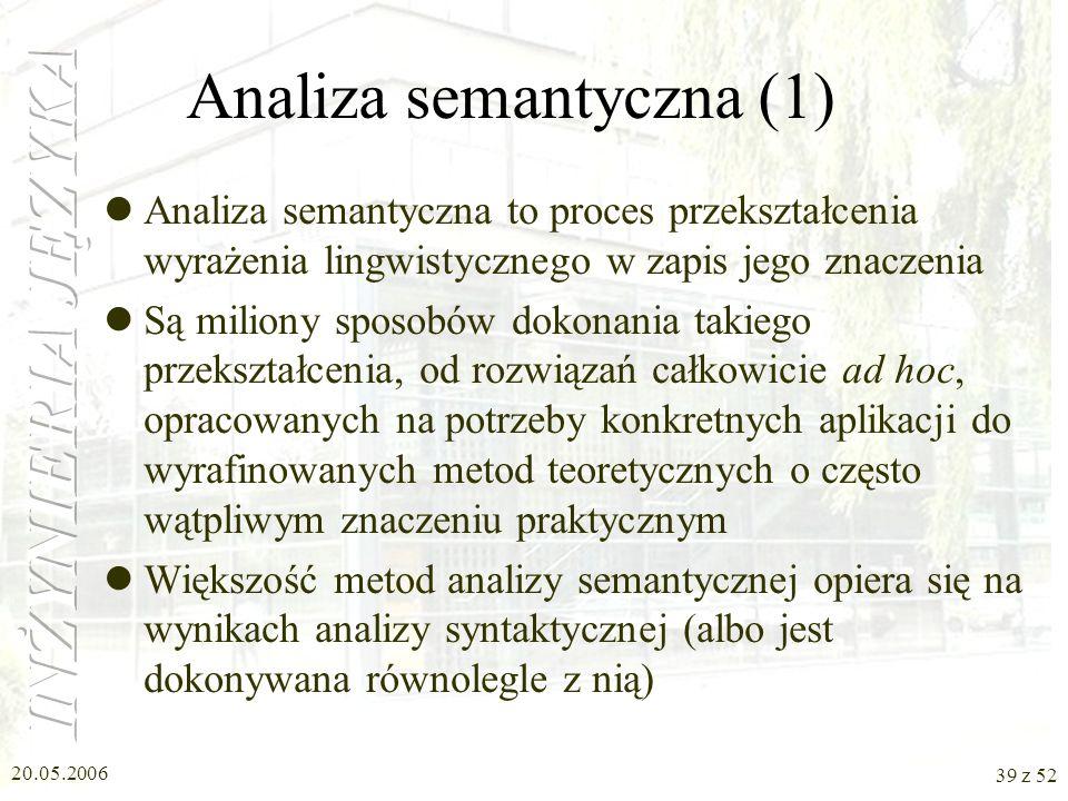 20.05.2006 39 z 52 Analiza semantyczna (1) Analiza semantyczna to proces przekształcenia wyrażenia lingwistycznego w zapis jego znaczenia Są miliony s