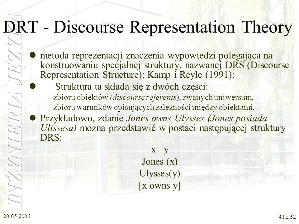 20.05.2006 41 z 52 DRT - Discourse Representation Theory metoda reprezentacji znaczenia wypowiedzi polegająca na konstruowaniu specjalnej struktury, n