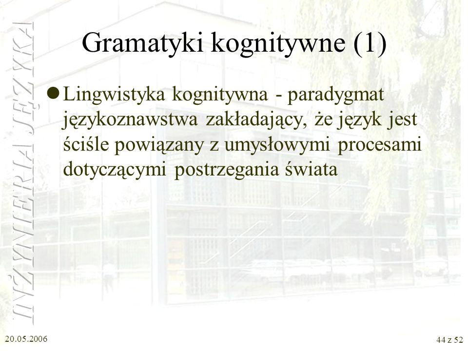 20.05.2006 44 z 52 Gramatyki kognitywne (1) Lingwistyka kognitywna - paradygmat językoznawstwa zakładający, że język jest ściśle powiązany z umysłowym