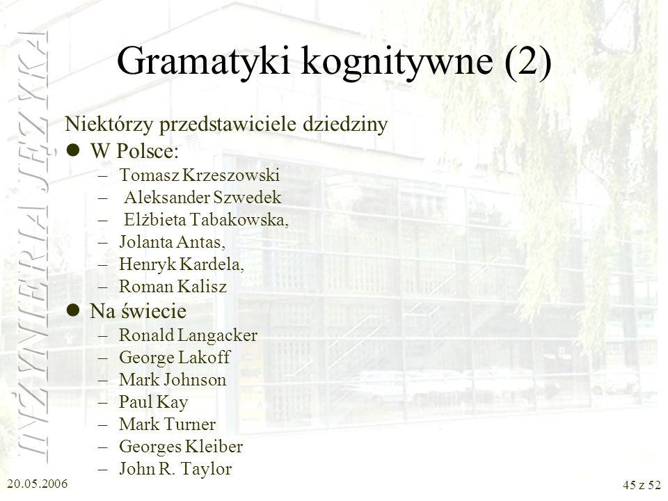 20.05.2006 45 z 52 Gramatyki kognitywne (2) Niektórzy przedstawiciele dziedziny W Polsce: –Tomasz Krzeszowski – Aleksander Szwedek – Elżbieta Tabakows