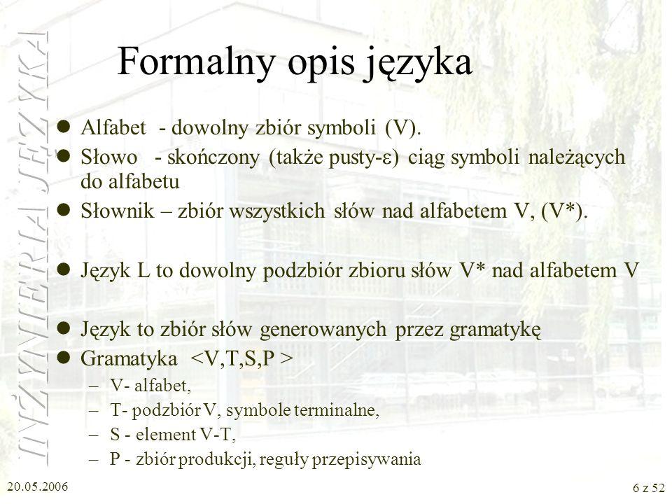 20.05.2006 6 z 52 Formalny opis języka Alfabet - dowolny zbiór symboli (V). Słowo - skończony (także pusty- ) ciąg symboli należących do alfabetu Słow