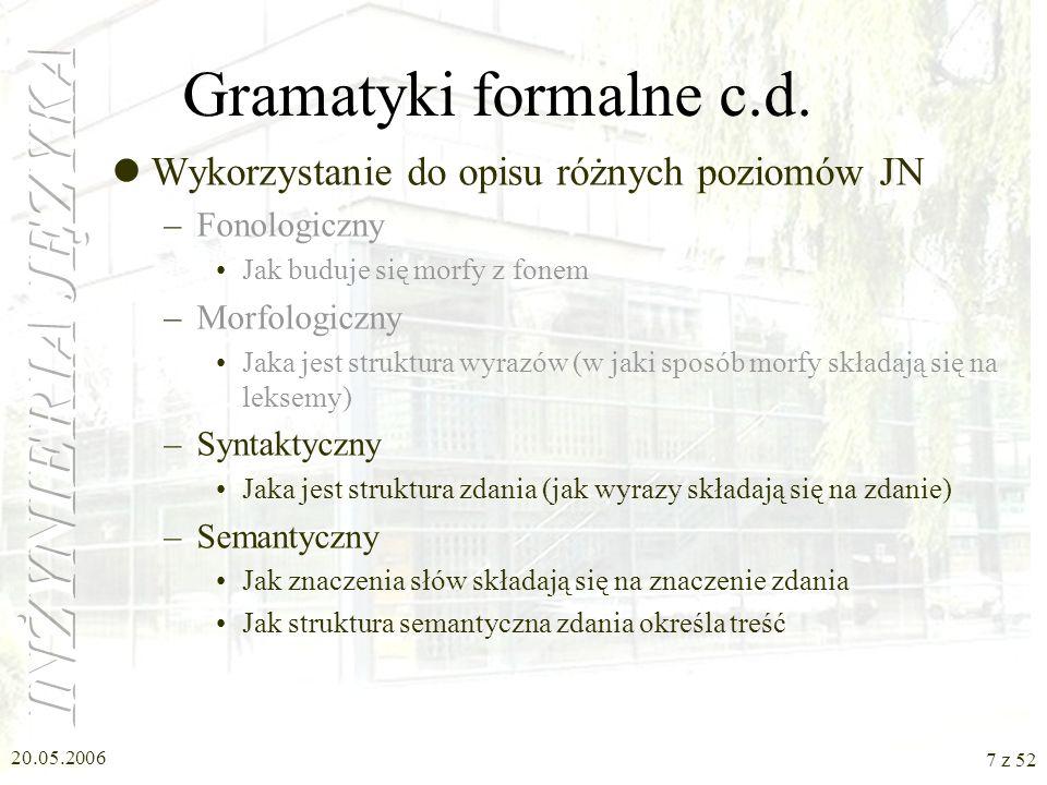 20.05.2006 7 z 52 Gramatyki formalne c.d. Wykorzystanie do opisu różnych poziomów JN –Fonologiczny Jak buduje się morfy z fonem –Morfologiczny Jaka je