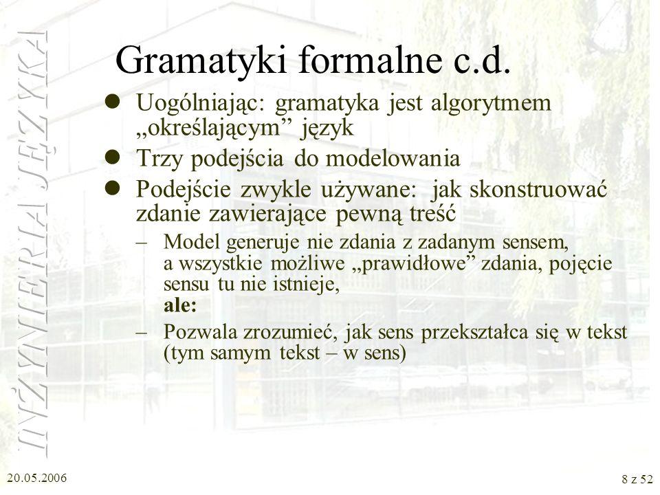 20.05.2006 8 z 52 Gramatyki formalne c.d. Uogólniając: gramatyka jest algorytmem określającym język Trzy podejścia do modelowania Podejście zwykle uży