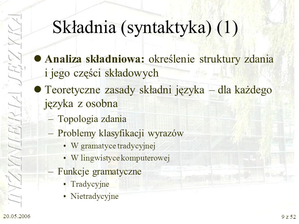 20.05.2006 9 z 52 Składnia (syntaktyka) (1) Analiza składniowa: określenie struktury zdania i jego części składowych Teoretyczne zasady składni języka