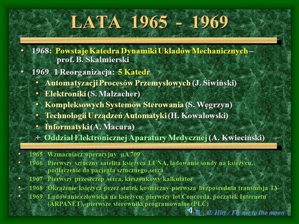 LATA 1965 - 1969 Al. Hirt / Fly me to the moon 1968: Powstaje Katedra Dynamiki Układów Mechanicznych – prof. B. Skalmierski 1968: Powstaje Katedra Dyn
