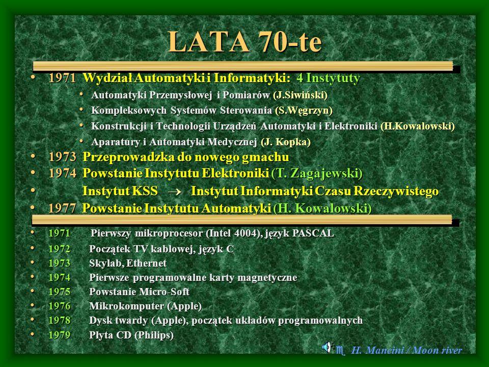 LATA 1980 - 2004 1984 Wydział Automatyki, Elektroniki i Informatyki Instytut Informatyki Czasu Rzeczywistego Instytut Informatyki Instytut Elektroniki + Inst.