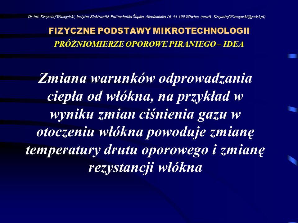 FIZYCZNE PODSTAWY MIKROTECHNOLOGII Dr inż. Krzysztof Waczyński, Instytut Elektroniki, Politechnika Śląska, Akademicka 16, 44-100 Gliwice (email: Krzys