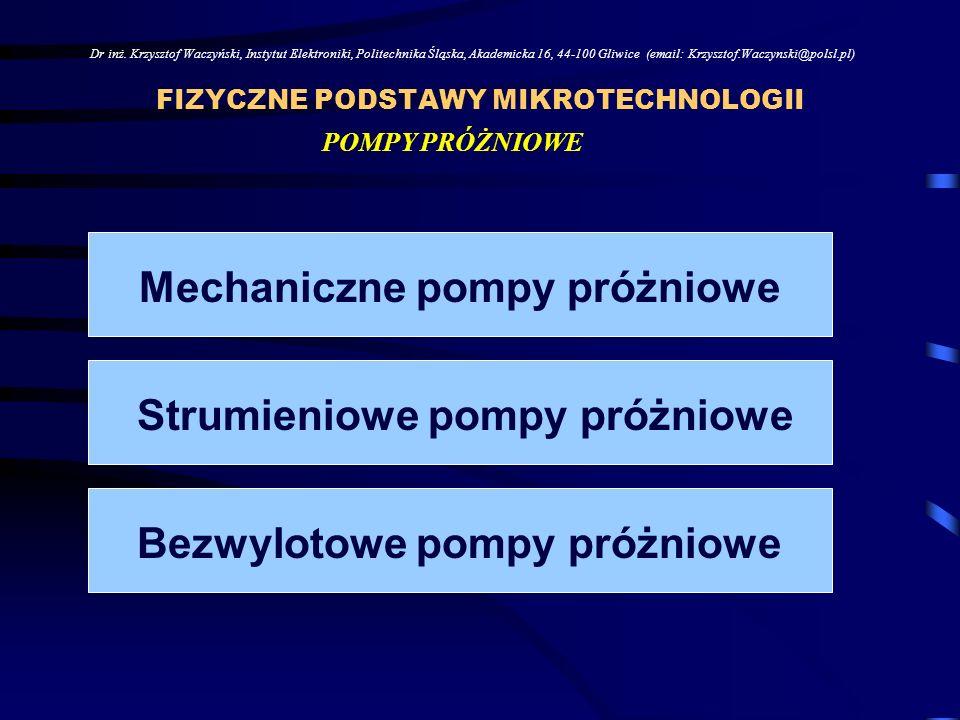 FIZYCZNE PODSTAWY MIKROTECHNOLOGII Dr inż.