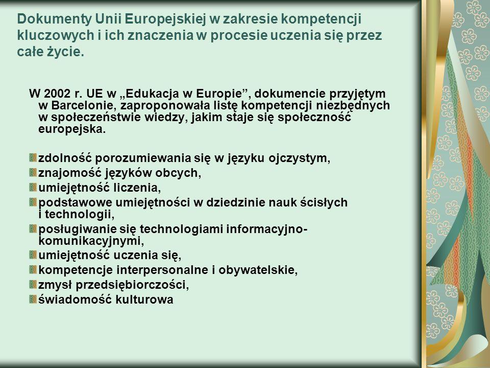 Dokumenty Unii Europejskiej w zakresie kompetencji kluczowych i ich znaczenia w procesie uczenia się przez całe życie. W 2002 r. UE w Edukacja w Europ