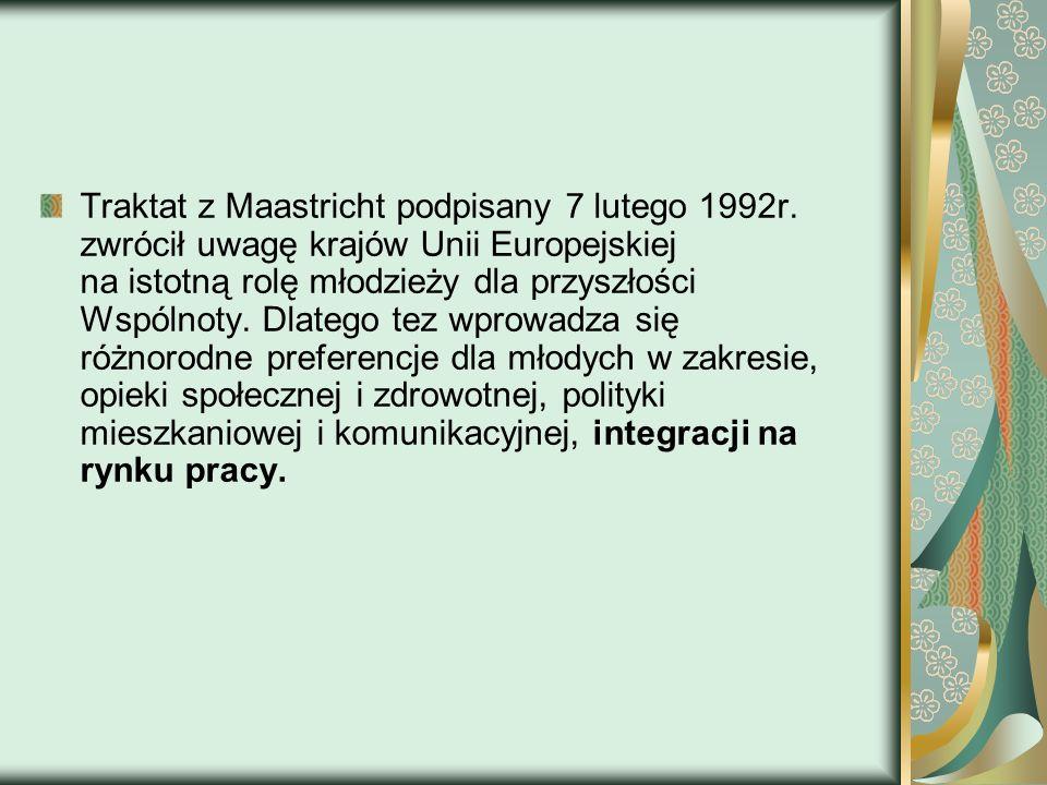 Traktat z Maastricht podpisany 7 lutego 1992r. zwrócił uwagę krajów Unii Europejskiej na istotną rolę młodzieży dla przyszłości Wspólnoty. Dlatego tez