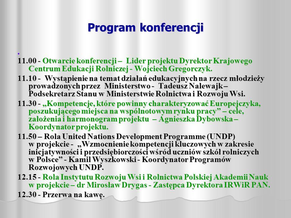 Program konferencji 11.00 - Otwarcie konferencji – Lider projektu Dyrektor Krajowego Centrum Edukacji Rolniczej - Wojciech Gregorczyk. 11.10 - Wystąpi