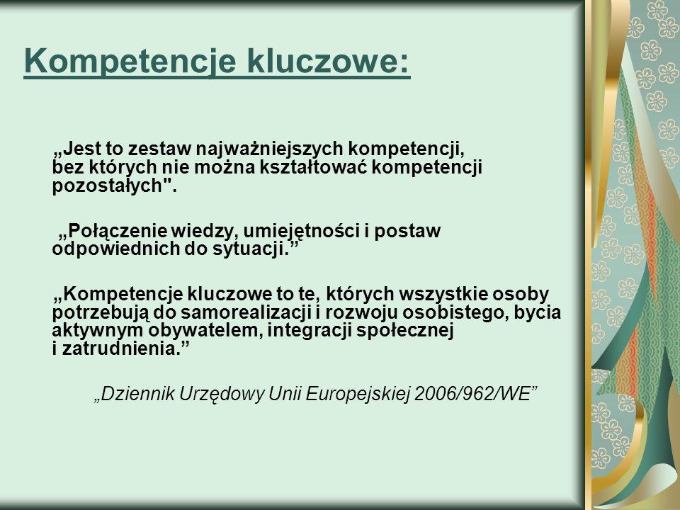 Kompetencje kluczowe: Jest to zestaw najważniejszych kompetencji, bez których nie można kształtować kompetencji pozostałych