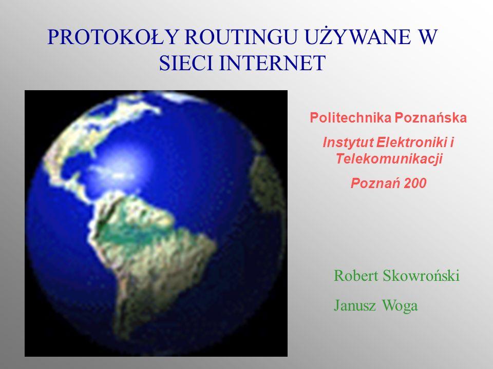PROTOKOŁY ROUTINGU UŻYWANE W SIECI INTERNET Robert Skowroński Janusz Woga Politechnika Poznańska Instytut Elektroniki i Telekomunikacji Poznań 200