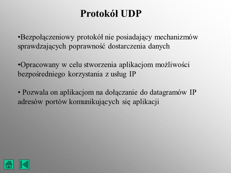Protokół UDP Bezpołączeniowy protokół nie posiadający mechanizmów sprawdzających poprawność dostarczenia danych Opracowany w celu stworzenia aplikacjo