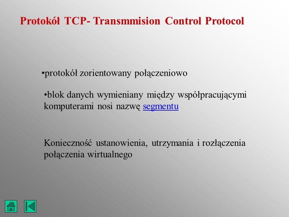 Protokół TCP- Transmmision Control Protocol protokół zorientowany połączeniowo blok danych wymieniany między współpracującymi komputerami nosi nazwę s