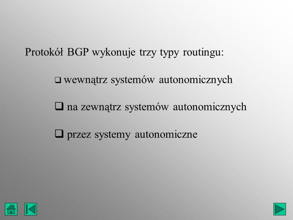 Protokół BGP wykonuje trzy typy routingu: wewnątrz systemów autonomicznych na zewnątrz systemów autonomicznych przez systemy autonomiczne