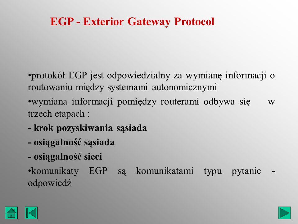 EGP - Exterior Gateway Protocol protokół EGP jest odpowiedzialny za wymianę informacji o routowaniu między systemami autonomicznymi wymiana informacji