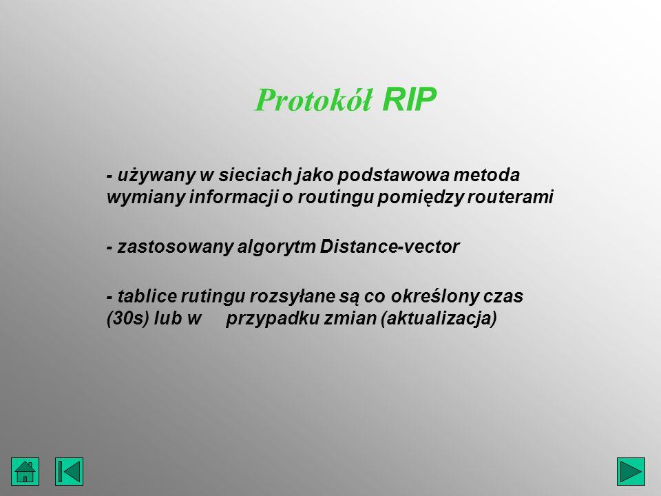 - używany w sieciach jako podstawowa metoda wymiany informacji o routingu pomiędzy routerami - zastosowany algorytm Distance-vector Protokół RIP - tab
