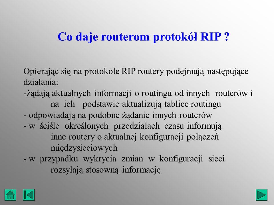 Opierając się na protokole RIP routery podejmują następujące działania: -żądają aktualnych informacji o routingu od innych routerów i na ich podstawie