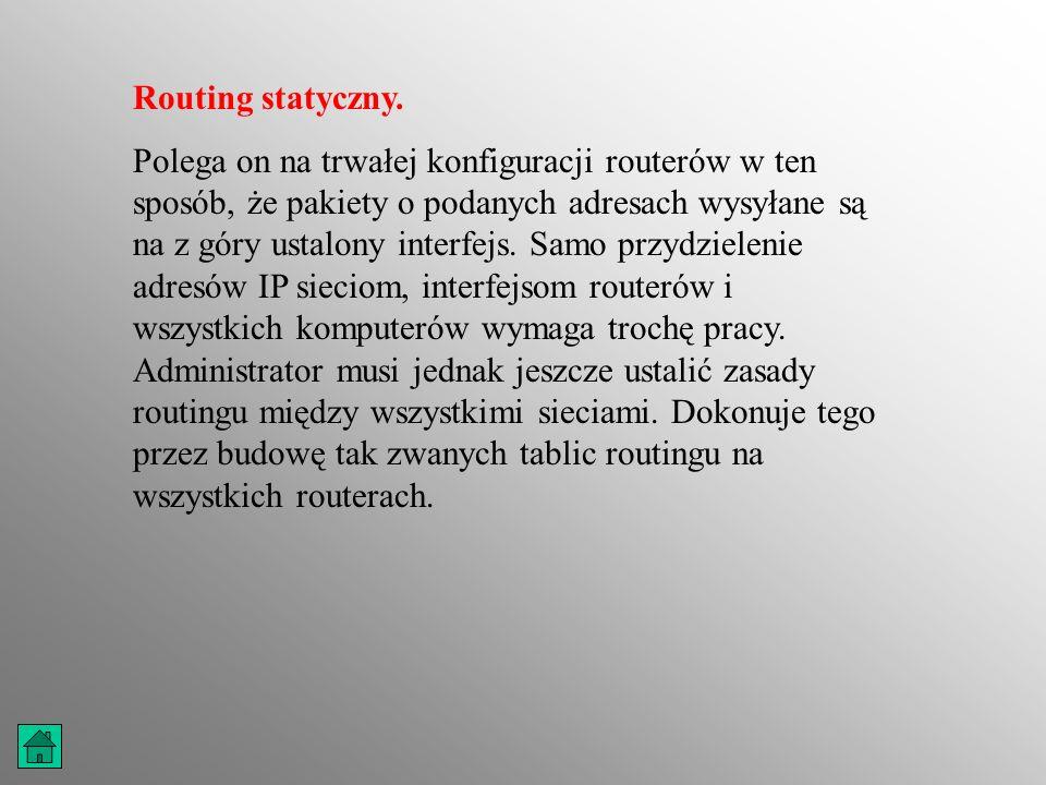 Routing dynamiczny.Realizacja routingu statycznego wymaga od administratora trochę pracy.