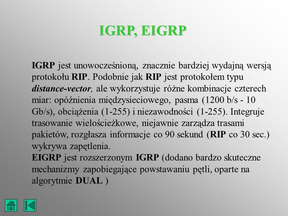 IGRP, EIGRP IGRP jest unowocześnioną, znacznie bardziej wydajną wersją protokołu RIP. Podobnie jak RIP jest protokołem typu distance-vector, ale wykor