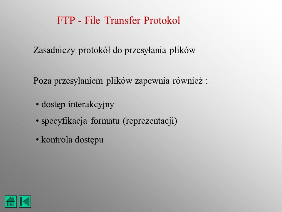 FTP - File Transfer Protokol Zasadniczy protokół do przesyłania plików Poza przesyłaniem plików zapewnia również : dostęp interakcyjny specyfikacja fo