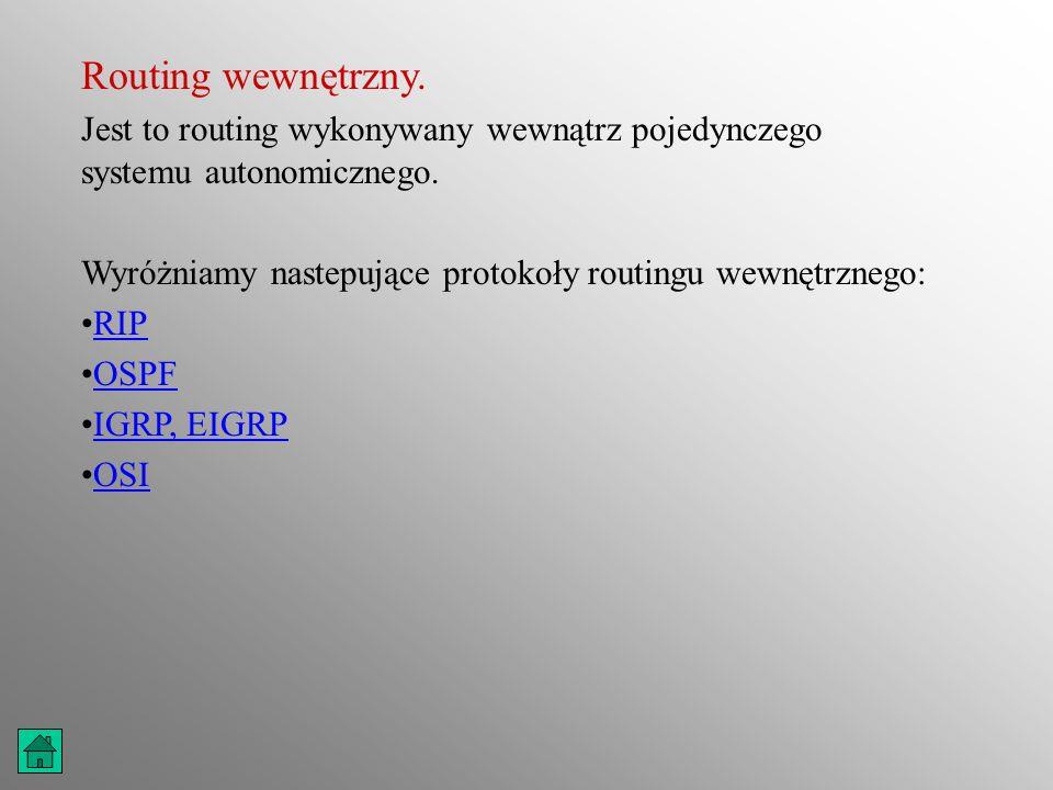 Routing wewnętrzny. Jest to routing wykonywany wewnątrz pojedynczego systemu autonomicznego. Wyróżniamy nastepujące protokoły routingu wewnętrznego: R
