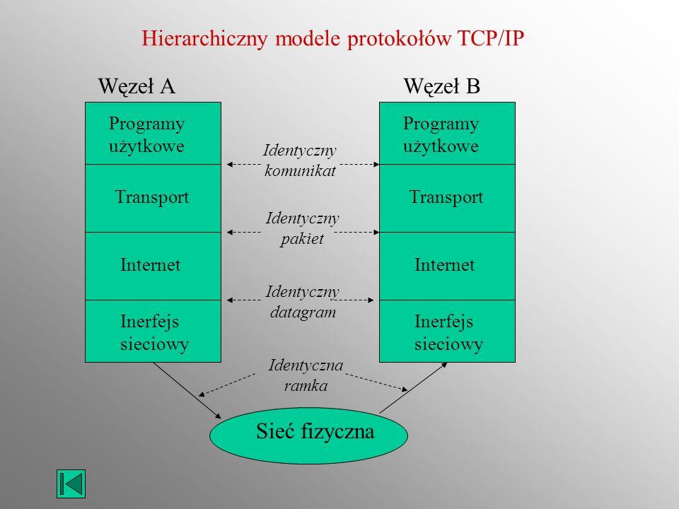 Hierarchiczny modele protokołów TCP/IP Programy użytkowe Transport Internet Inerfejs sieciowy Programy użytkowe Transport Internet Inerfejs sieciowy W
