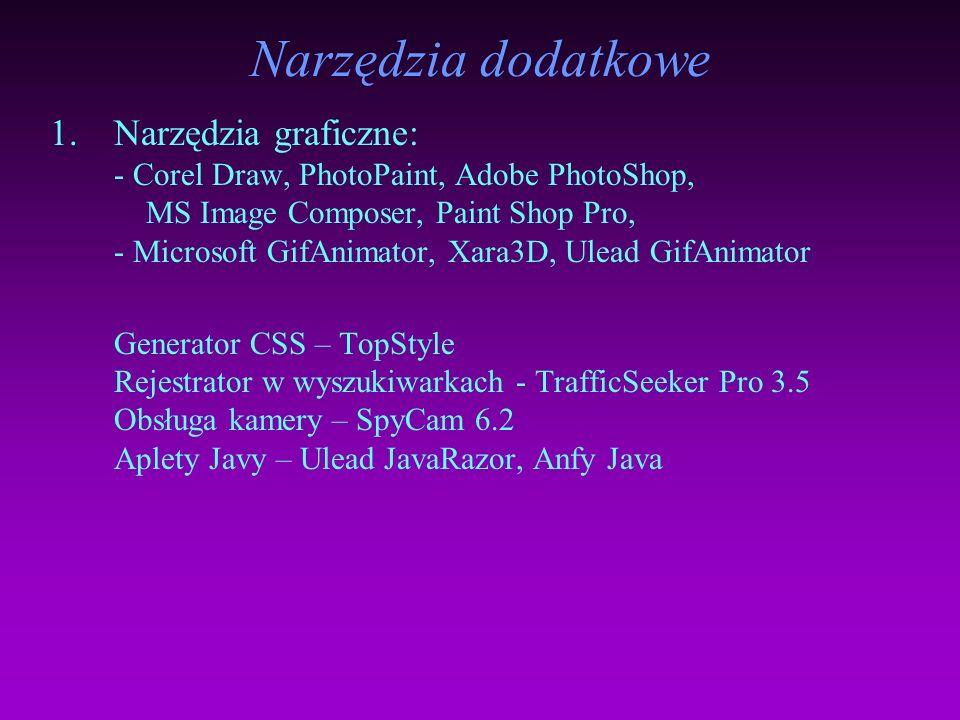 Generatory kodu 1.Microsoft FrontPage 2000 2.Macromedia Dreamweaver 3 Technologia Flash 1.Macromedia Flash 5 2.Adobe LiveMotion 3.SWiSH 1.51