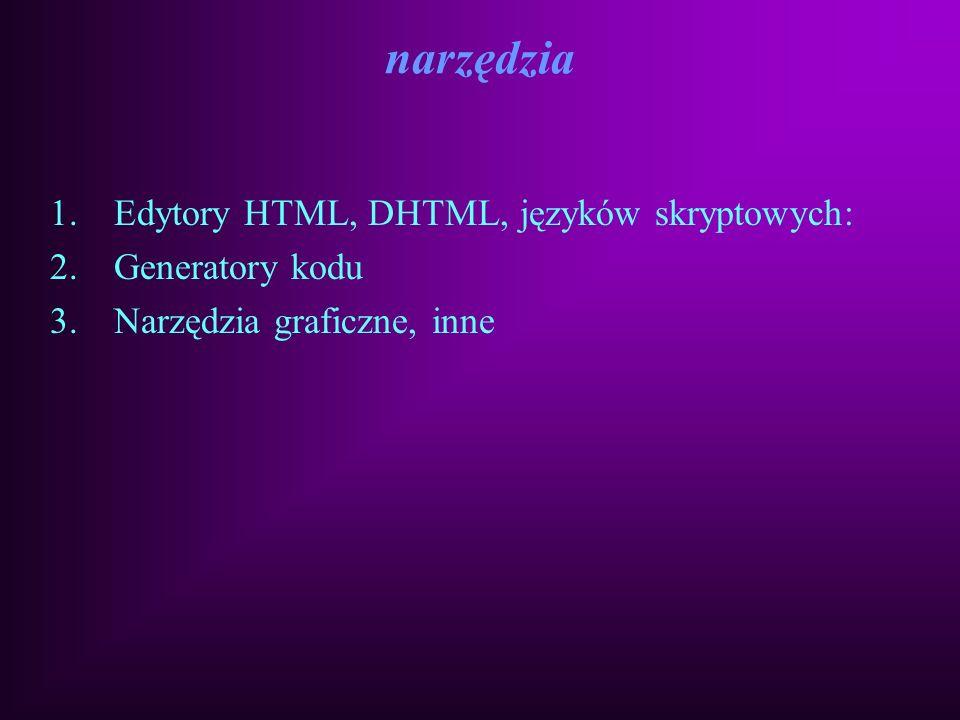 Techniki i narzędzia do tworzenia stron WWW HTML (Hyper Text Markup Language) DHTML (Dynamic HTML) CSS (Cascade Style Sheet) JavaScript VBScript CGI (