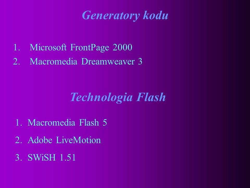 Edytory 1.HotDog 6.2 2.Adobe GoLive 4.0 3.1st Page 2000 4.Pajączek 2000 + Skryba 2000 5.CoffeCup HTML Editor 8.5 6.HomeSite 4.5 7.AceHTML 4.0