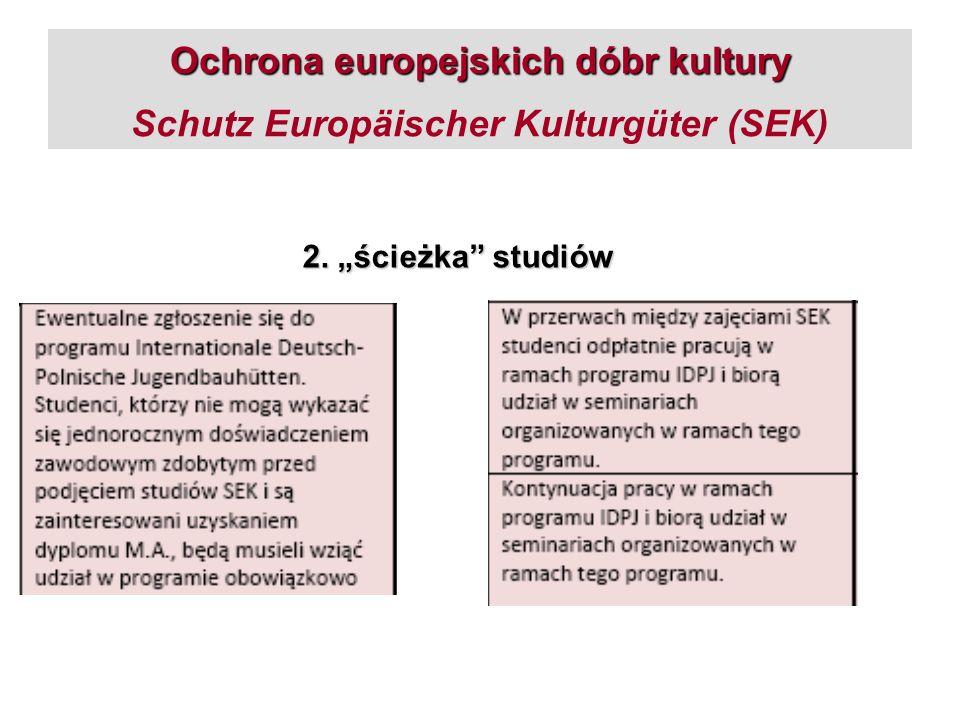 Ochrona europejskich dóbr kultury Ochrona europejskich dóbr kultury Schutz Europäischer Kulturgüter (SEK) 2. ścieżka studiów