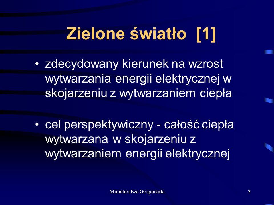 Ministerstwo Gospodarki3 Zielone światło [1] zdecydowany kierunek na wzrost wytwarzania energii elektrycznej w skojarzeniu z wytwarzaniem ciepła cel perspektywiczny - całość ciepła wytwarzana w skojarzeniu z wytwarzaniem energii elektrycznej