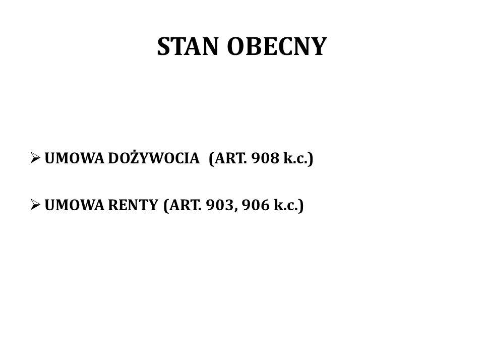 STAN OBECNY UMOWA DOŻYWOCIA (ART. 908 k.c.) UMOWA RENTY (ART. 903, 906 k.c.)