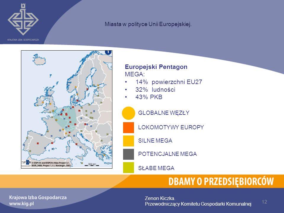 12 Miasta w polityce Unii Europejskiej. Zenon Kiczka. Przewodniczący Komitetu Gospodarki Komunalnej Europejski Pentagon MEGA: 14% powierzchni EU27 32%