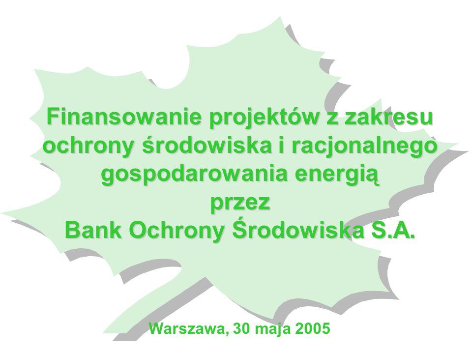 Finansowanie projektów z zakresu ochrony środowiska i racjonalnego gospodarowania energią przez Bank Ochrony Środowiska S.A.