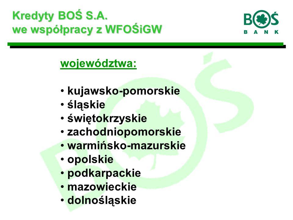województwa: kujawsko-pomorskie śląskie świętokrzyskie zachodniopomorskie warmińsko-mazurskie opolskie podkarpackie mazowieckie dolnośląskie Kredyty BOŚ S.A.