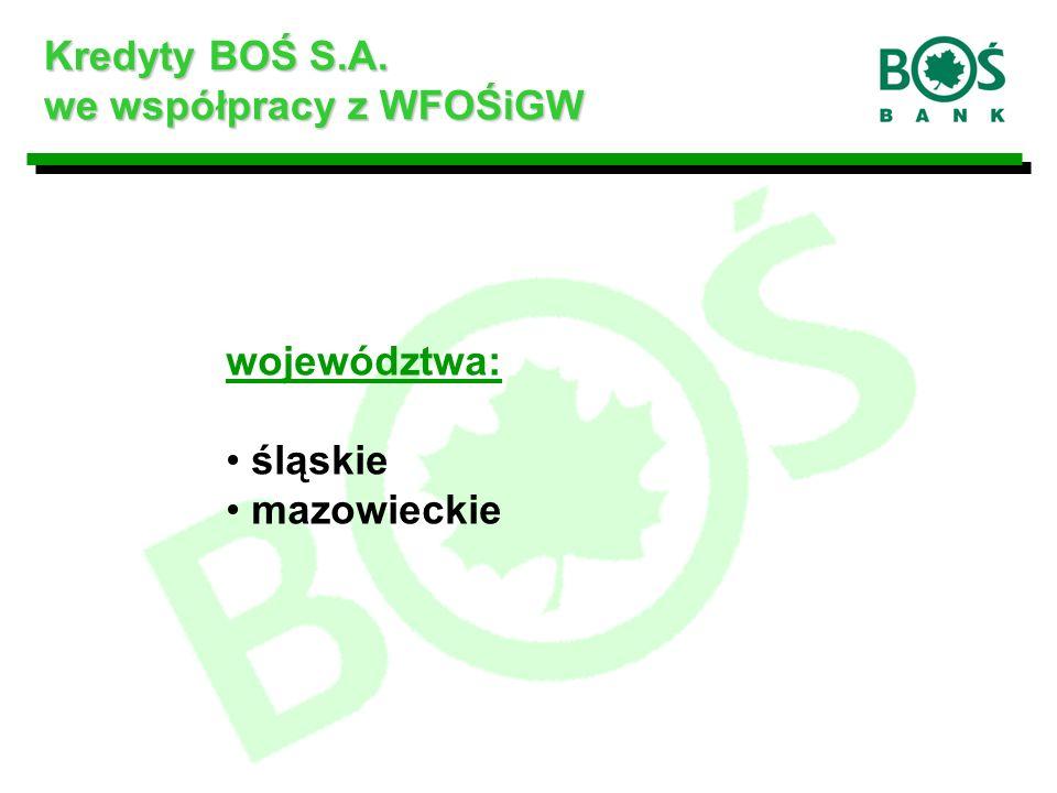 województwa: śląskie mazowieckie Kredyty BOŚ S.A. we współpracy z WFOŚiGW