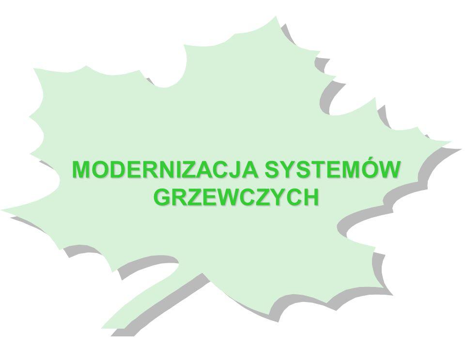 przedmiot kredytowania: modernizacja i budowa systemów grzewczych obejmująca: - zakup kotłów gazowych, olejowych i węglowych o mocy do 500 kW wraz z oprzyrządowaniem (kotły węglowe niskoemisyjne, posiadające certyfikat energetyczno-emisyjny, wydany przez akredytowane laboratorium) - zakup wkładów kominowych - zakup grzejników konwekcyjnych podmioty uprawnione do ubiegania się o kredyt: bez ograniczeń warunki kredytowania: - kwota kredytu – do 100.000 zł i do 90% kosztów zadania, - oprocentowanie – 0,4 s.r.w.
