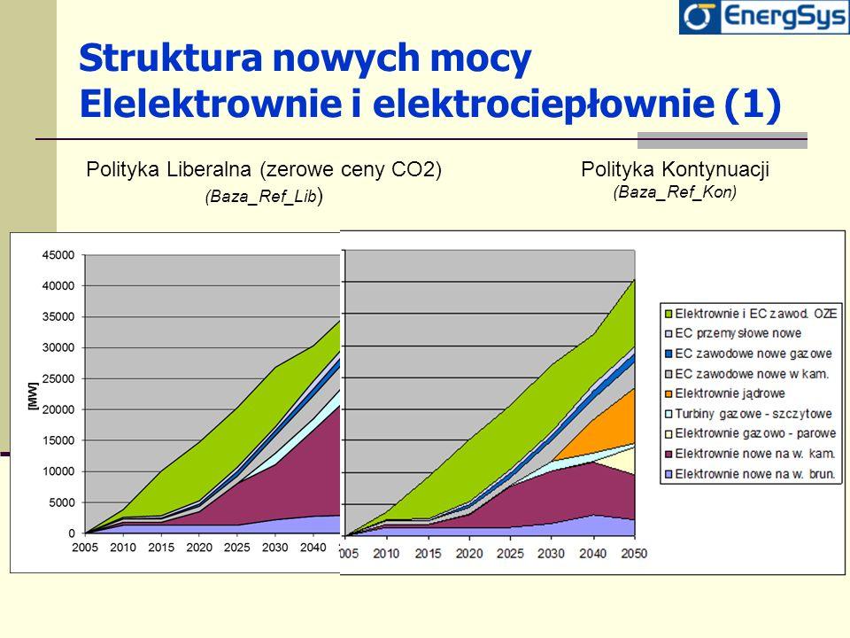 Struktura nowych mocy Elelektrownie i elektrociepłownie (1) Polityka Liberalna (zerowe ceny CO2) (Baza_Ref_Lib ) Polityka Kontynuacji (Baza_Ref_Kon)