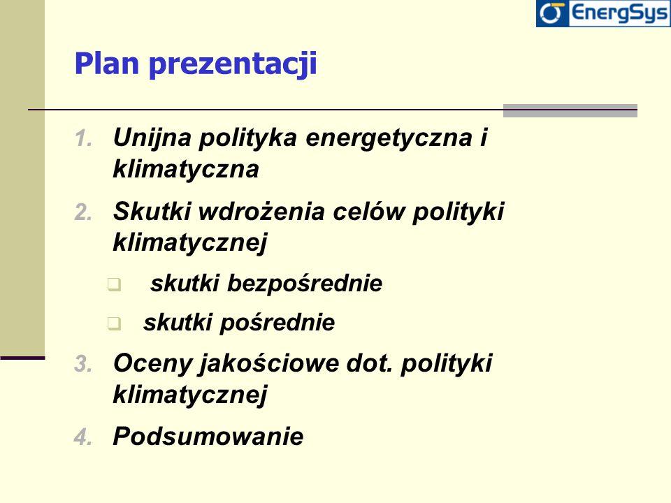 Plan prezentacji 1. Unijna polityka energetyczna i klimatyczna 2. Skutki wdrożenia celów polityki klimatycznej skutki bezpośrednie skutki pośrednie 3.