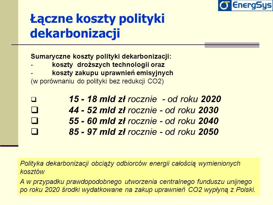 Łączne koszty polityki dekarbonizacji Sumaryczne koszty polityki dekarbonizacji: -koszty droższych technologii oraz -koszty zakupu uprawnień emisyjnyc