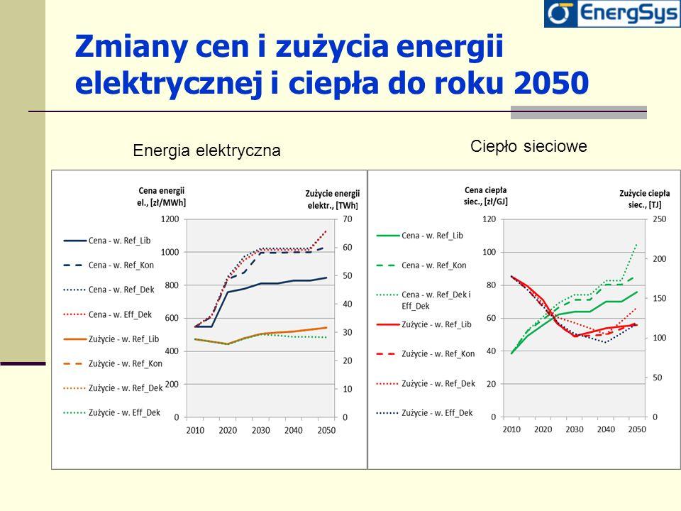 Zmiany cen i zużycia energii elektrycznej i ciepła do roku 2050 Energia elektryczna Ciepło sieciowe