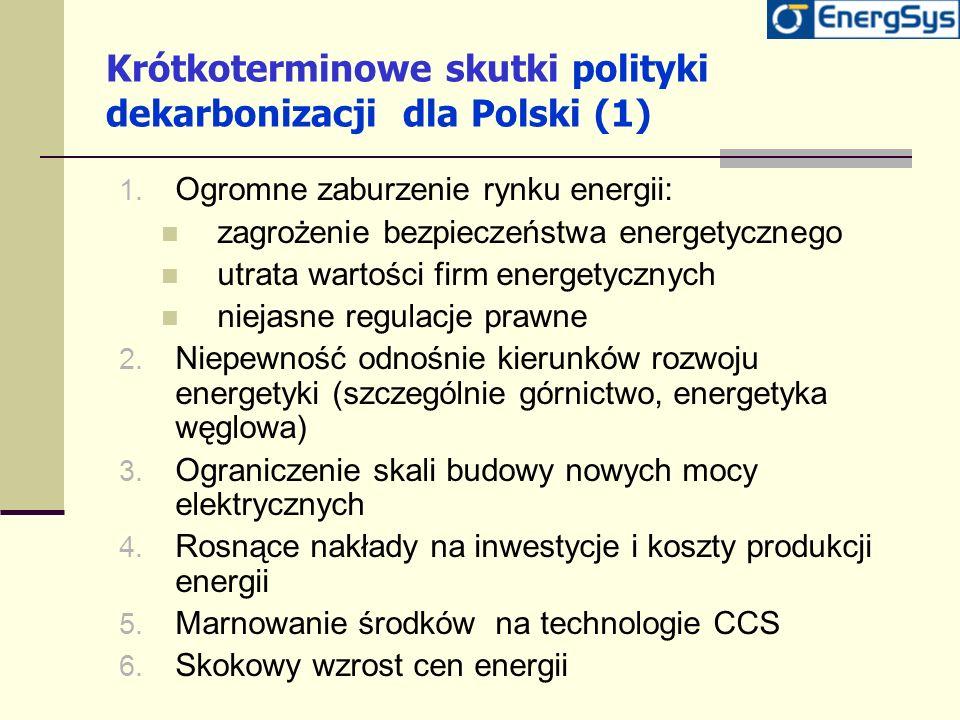 Krótkoterminowe skutki polityki dekarbonizacji dla Polski (1) 1. Ogromne zaburzenie rynku energii: zagrożenie bezpieczeństwa energetycznego utrata war